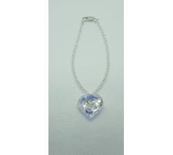 Strieborný náramok s príveskom Swarovski srdce vo farbe dúhovej Crystal AB