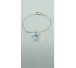 Strieborný náramok s príveskom Swarovski hviezda vo farbe dúhovej Crystal AB
