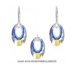 Strieborný set Swarovski elements dúhový Helios Crystal AB 20mm