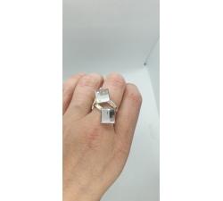 Strieborný prsteň s kryštáľom Swarovski Chessboard 2x10mm číry Crystal