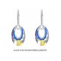 Strieborné náušnice Swarovski elements Helios Crystal AB