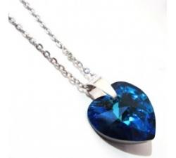 Náhrdelník Swarovski elements srdce modré - Bermuda Blue 18mm