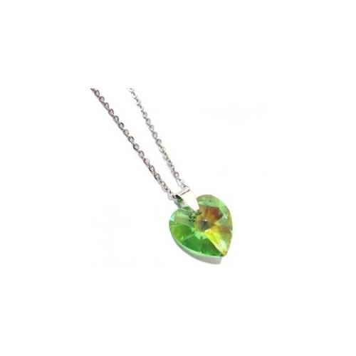 Náhrdelník Swarovski elemetns srdce zelené - Peridot AB