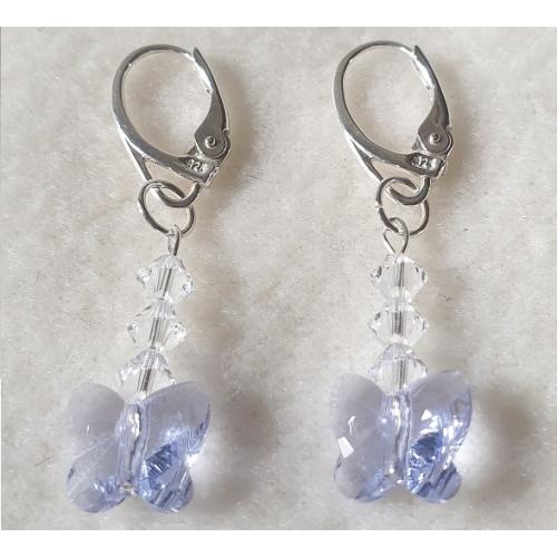 Strieborné náušnice viasiace so swarovski elements motýle fialové Provance Lavender