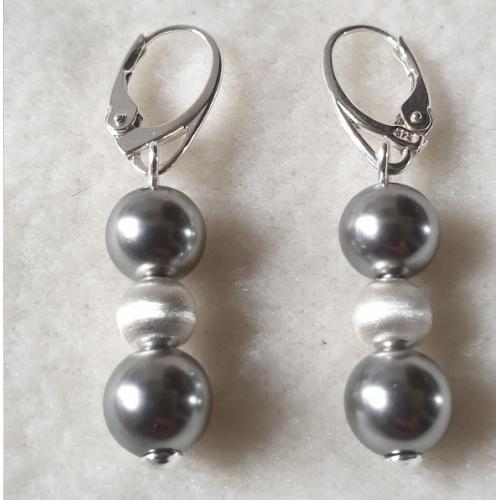 Náušnice perly Swarovski elements 8mm grey