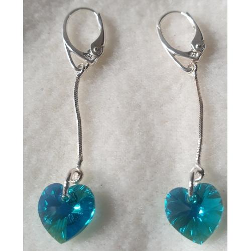 Náušnice na retiazke Swarovski elements srdce modré blue zircon ab, 50mm