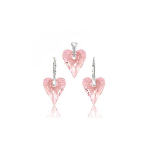 Set Swarovski elements srdce CRAZY ružový rosaline12mm