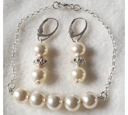 Súprava Swarovski elements náramok a náušnice krémové perly