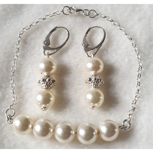 Súprava Swarovski elements náramok a náušnice modré perly krémové