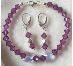 Súprava Swarovski elements náramok a náušnice fialové amethyst