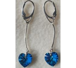 Náušnice na retiazke Swarovski elements srdce modré Bermuda blue 50mm