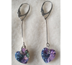 Náušnice na retiazke Swarovski elements srdce fialové vitrail light