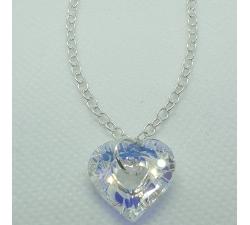 Strieborný náramok s príveskom Swarovski Cosmic srdce vo farbe Crystal AB