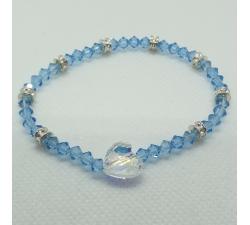Krásny modrý náramok Swarovski elements Xilion Aquamarine a srdce