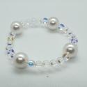 Kryštáľový náramok Swarovski korálky – Crystal AB a perly