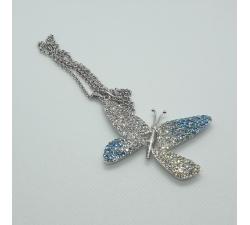 Náhrdelník motýľ Swarovski elements modročíry