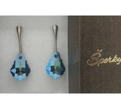 Strieborné náušnice Baroque - Swarovski elements modré jet shimmer