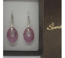 Strieborné náušnice Swarovski elements Helios fialové lilac shadow