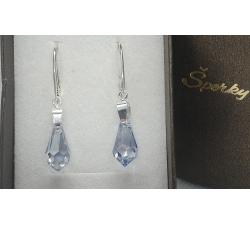 Náušnice Swarovski elements teardrop blue shade 15mm