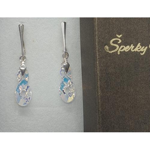Strieborné náušnice Swarovski elements Infinity Crystal AB