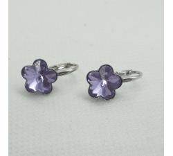 Strieborné náušnice Swarovski elements kvetinka fialové Violet 10mm