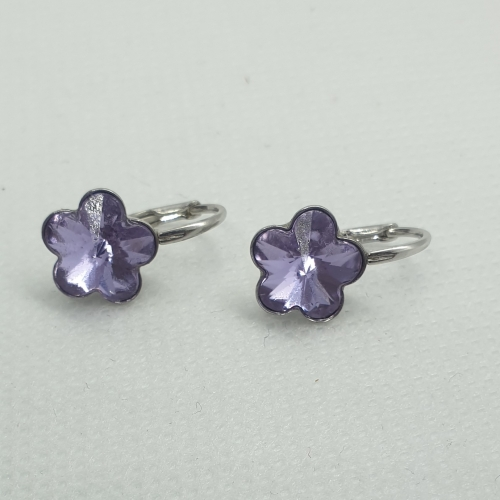 Strieborné náušnice Swarovski kvetinka Violet