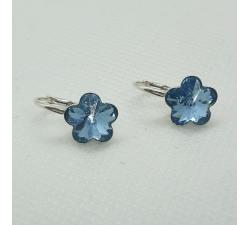 Strieborné náušnice Swarovski elements kvetinka modré Aquamarine 10mm