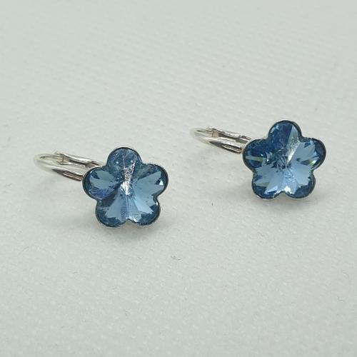 Náušnice kvetina Aquamarine