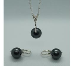 Strieborná perlová súprava 10mm biela