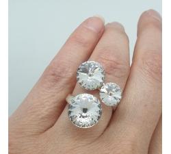 Strieborný prsteň so Swarovski kryštálmi Rivoli trio Crystal