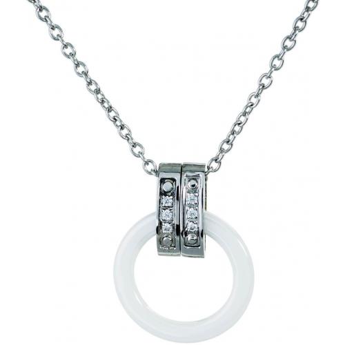 DN064 - náhrdelník oceľ a keramika