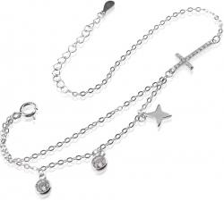 Strieborný náramok so zirkónmi, hviezdami a zirkónovým krížikom SB145, AG 925/1000