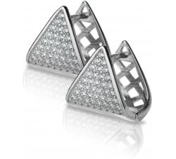 Strieborné trojuholníkové náušnice posiate zirkonmi SE012 , AG 925/1000