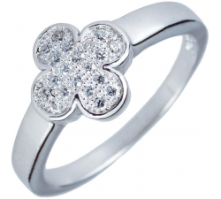 Jemný strieborný prsteň so štvorlístkom a zirkonmi SM16R , AG 925/1000
