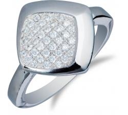 Elegantný strieborný prsteň so štvorcom plným zirkonov SM28R , AG 925/1000