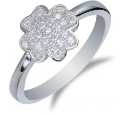 Roztomilý strieborný prsteň s kvetinkou a zirkonmi SM30R , AG 925/1000