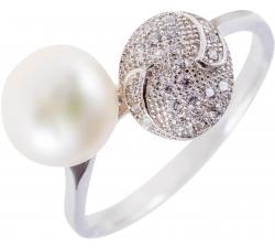 Moderný strieborný prsteň s perlou a mikrozirkonmi SMP03R , AG 925/1000