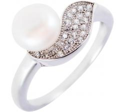 Strieborný prsteň s prírodnou perlou a vlnkou so zirkonov SMP08R , AG 925/1000