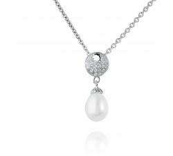 Štýlový strieborný prívesok s riečnou perlou a zirkonmi SMP09P , AG 925/1000
