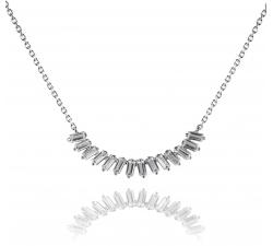 Elegantný strieborný náhrdelník AG 925/1000 s obdĺžnikovými zirkónmi SN022