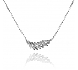Štýlový strieborný náhrdelník AG 925/1000 s lístkom zo zirkónov SN025