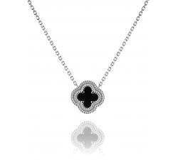 Strieborný náhrdelník AG 925/1000 s keramickým štvorlístkom a obvodom zo zirkónov SN027