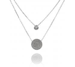 Dvojitý strieborný náhrdelník AG 925/1000 s guličkou a doštičkou so zirkónmi  SN039