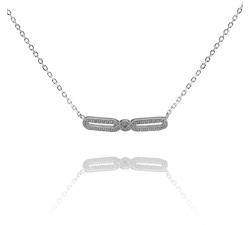 Jemný strieborný náhrdelník s ornamentom plným zirkónov SN040, AG 925/1000