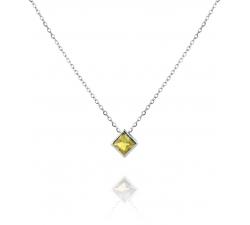 Strieborný náhrdelník s citrínovým kosoštvorcom SN048, AG 925/1000 - žltá