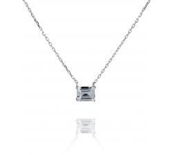 Strieborný náhrdelník s obdĺžnikovým zirkónom SN058, AG 925/1000