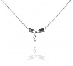 Strieborný náhrdelník so zirkónovými zámkami a kľúčikom SN062, AG 925/1000