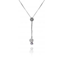 Strieborný náhrdelník so zirkónovým srdcom a drobným ametystom SN069, AG 925/1000