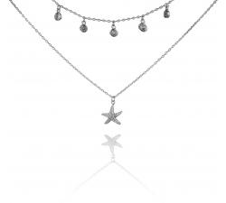 Strieborný náhrdelník s hviezdičkou a zirkónmi SN082, AG 925/1000