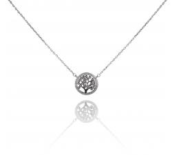 Strieborný náhrdelník AG 925/1000 STROM SO ZIRKÓNMI SN087